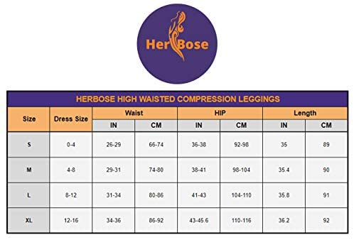 HerBose High Waisted Leggings for Women Tummy Control Compression Workout Yoga Pants